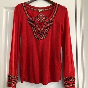 Lucky Brand Aztec Embroidered Top